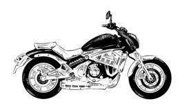 Hand drawn sketch of motorcyrcle in black isolated on white background. Detailed vintage etching style drawing. stock illustration