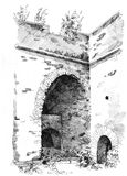 Hand-drawn sketch of old ruins Royalty Free Stock Photography