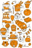 Hand drawn sketch orange  circus and amusement vector illustrations. Vintage icons.Doodle design elements for banner, flyer, busin Stock Image