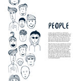 Hand drawn sketch people collection. Vector design business template. Border with people for flyer, banner, poster, brochure Stock Photos