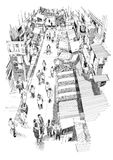 Hand drawn sketch of people walking in market street. Illustration,drawing Royalty Free Stock Photos