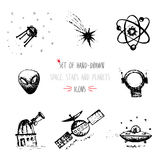 Hand-drawn sketch Planet icon set Royalty Free Stock Photos