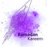Hand drawn Sketch of Ramadan Lantern. With grunge and watercolor Background