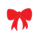 Hand drawn sketch of red festive bow. Hand drawn sketch of red festive bow with white quiltings on the border. Vector illustration Royalty Free Stock Images