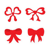 Hand drawn sketch of red festive bows in the shape of heart. For using as a symbol, icon, logo or element for design. Vector illustration Stock Images