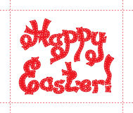 Hand drawn sketch of red text Happy Easter with white quiltings on the border Royalty Free Stock Photos