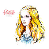 Hand drawn sketch of Sansa Stark, Game of Thrones. August 28, 2017: Hand drawn illustration of Sansa Stark is a prominent character in the TV show Game of Royalty Free Stock Photography