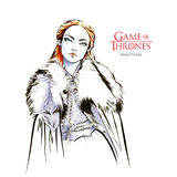 Hand drawn sketch of Sansa Stark, Game of Thrones. August 28, 2017: Hand drawn illustration of Sansa Stark is a prominent character in the TV show Game of Royalty Free Stock Image
