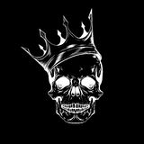 Hand drawn sketch scull with crown. Tattoo line art. Vintage vec Royalty Free Stock Images