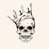 Hand drawn sketch scull with crown tattoo line art. Vintage vect Royalty Free Stock Photography