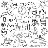 Hand drawn sketch sea cruise doodles vector illustration of Travel and summer elements,  Royalty Free Stock Photos