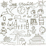 Hand drawn sketch sea cruise doodles vector illustration of Travel and summer elements, on paper notebook Royalty Free Stock Images