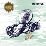 Hand drawn sketch seafood of octopus. Stock Image
