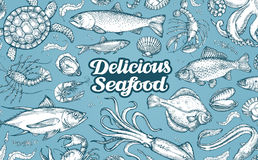 Hand drawn sketch seafood. Vector illustration Stock Image