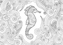 Hand drawn sketch of seahorse surrounded by waves in zentangle inspired style. Royalty Free Stock Image
