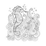Hand drawn sketch of seahorse under the sea in zentangle inspired style. Royalty Free Stock Image