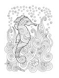 Hand drawn sketch of seahorse under the sea in zentangle inspired style. Coloring book for adult and older children. Vertical composition. Art vector stylized royalty free illustration