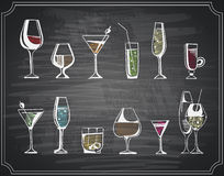 Hand drawn sketch set of alcohol drinks and cocktails. Vector illustration Royalty Free Stock Images