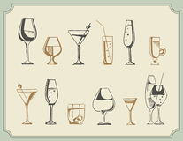 Hand drawn sketch set of alcohol drinks and cocktails. Vector illustration Royalty Free Stock Photos
