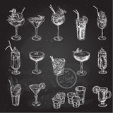Hand drawn sketch set of alcoholic cocktails. Vector illustration vector illustration