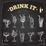 Hand drawn sketch set of alcoholic cocktails. Vector illustration royalty free illustration