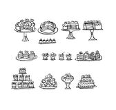 Hand drawn sketch set of cakes and o. Confectionery illustration. hand drawn sketch set of cakes and other sweets Royalty Free Stock Photo