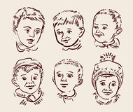 Hand drawn sketch set children. Vector Royalty Free Stock Image