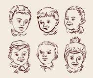 Hand drawn sketch set children. Vector Royalty Free Stock Image