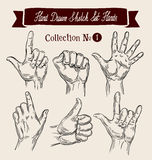 Hand drawn sketch set hands gestures. Vector Royalty Free Stock Photography
