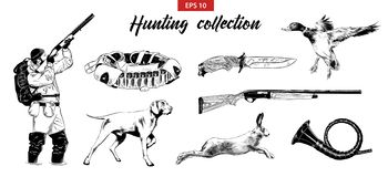 Hand drawn sketch set of hunting sport equipment, animals and hunter. Detailed vintage etching drawing stock illustration