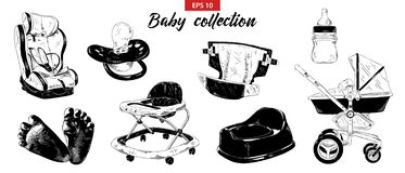 Hand drawn sketch set of nipple, baby carriage, car seat, potty, foots, walker isolated on white background. Detailed vintage etch royalty free illustration