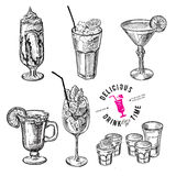 Hand Drawn Sketch Set Of Alcoholic Cocktails. Royalty Free Stock Image