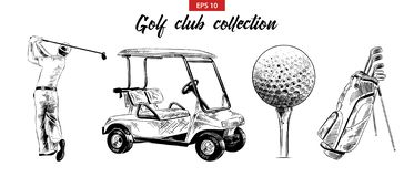 Hand Drawn Sketch Set Of Golf Bag, Cart, Ball And Golfer In Black Isolated On White Background. Detailed Vintage Etching Drawing. Royalty Free Stock Photography