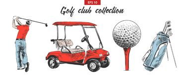 Hand Drawn Sketch Set Of Golf Bag, Cart, Ball And Golfer In Black Isolated On White Background. Detailed Vintage Etching Drawing Stock Photography