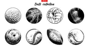 Hand Drawn Sketch Set Of Sport Balls Isolated On White Background. Detailed Vintage Etching Collection. Stock Image