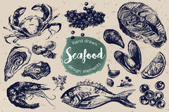 Hand drawn sketch set of seafood. Stock Photo