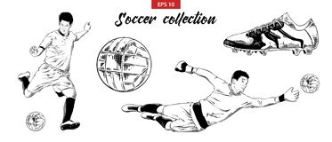 Hand drawn sketch set of soccer football players, shoe and ball isolated on white background. Detailed vintage doodle drawing royalty free illustration