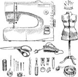Hand Drawn Sketch Sewing Set Royalty Free Stock Images