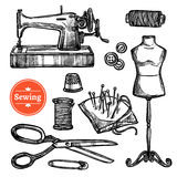 Hand Drawn Sketch Sewing Set Stock Photo
