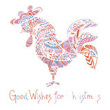 Hand drawn sketch in the shape of a rooster. Covered with multiple detailed patterns colored with colors, greetings lettering for New Year and Christmas Stock Images
