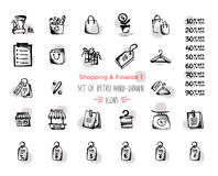 Hand-drawn sketch shopping web icon set - finance, economy, money, payments. With emphasis in round spots form. Isolated black. Hand-drawn sketch shopping web Royalty Free Stock Photography