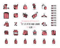 Hand-drawn sketch shopping web icon set - finance, economy, money, payments Isolated black and red on white background. Hand-drawn sketch shopping web icon set Stock Photos