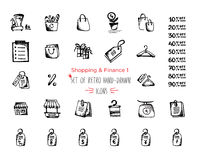 Hand-drawn sketch shopping web icon set - finance, economy, money, payments. Vector illustrations Black on white background Stock Photography