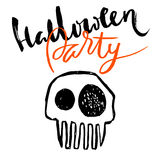 Hand drawn sketch skull. Cartoon skull illustration.Burning skull on black background. Happy halloween party lettering.  Stock Images