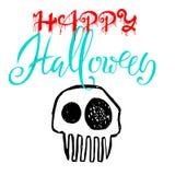Hand drawn sketch skull. Cartoon skull illustration.Burning skull on black background. Happy halloween party lettering.  Stock Photo