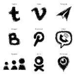 Hand-drawn sketch social media web icons set Stock Photos