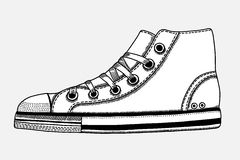 Hand drawn sketch of sport shoes. Sneakers for summer. Vector stock illustration. Sport wear for men and women royalty free illustration