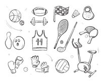Hand drawn sketch sports fitness equipment vector doodle icons Royalty Free Stock Images