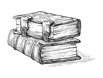 Hand drawn sketch stack from two oldest books isolated on white background vector