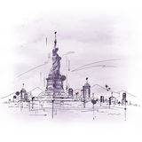 Hand drawn sketch of the Statue of Liberty Stock Images